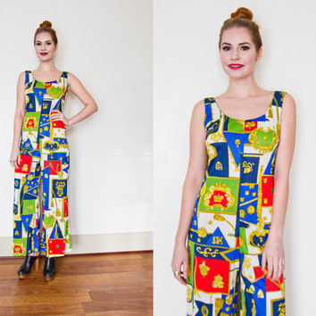 Vintage 1970s Jumpsuit - Royal Crest Versace Style Sleeveless Bright One Piece  - Extra Small