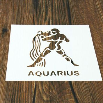 1PC Aquarius Constellations Shaped Reusable Stencil Airbrush Painting Art Home Decor Scrap booking Album Crafts free shipping