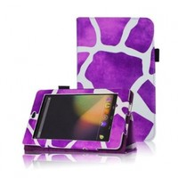FINTIE (Purple Giraffe Style) Leather Folio Stand Case Cover (With Automatic Sleep/Wake Feature) for Google Asus Nexus 7 Inch Android Tablet-9 Style Options AAA