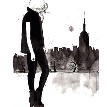 Print from original watercolor and fashion illustration, Doodles from my Sketchbook Series by Jessica Durrant, Empire State of Mind