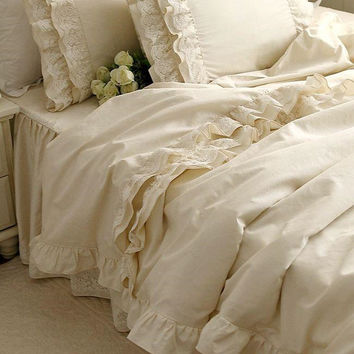 New luxury bedding set Alec high-grade high-density cotton Satin bedding Embroidered Lace Ruffle duvet cover elegant bedspread
