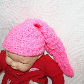 CIJ 15% OFF Pink Baby Pixie Hat, Crochet Elf Beanie, Infant Gnome Hat, Stocking Cap, Goblin Hat, christmasinjuly, christmas in july