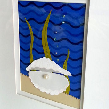 "Framed Paper Art - Persistence Brings Reward Wall-Mounted Art, 12"" X 22"" framed underwater pearl oyster themed decor, motivational artwork"