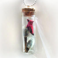 Cardinal and pussy willow branches bottle necklace, bird and tree winter scene vial pendant, nature's treasure