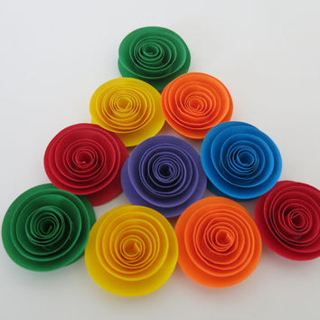 """Bright rainbow flowers set, 10 1.5"""" paper roses carnival party theme decorations, gay and lesbian wedding table decor, baby shower art"""