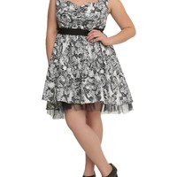 Plus size Gothic Elegance Rockabilly Skull & Black Rose belted Swing Party Dress