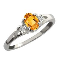Sterling Silver Genuine Citrine and White Topaz Women's 3-Stone Ring Available in size 5, 6, 7, 8, 9 (0.44 cttw, 6X4MM Yellow Citrine)
