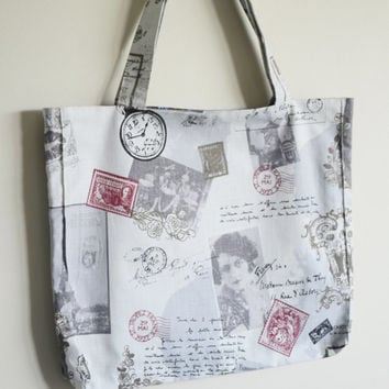 Retro Postage Stamp and Time eco friendly Tote Bag