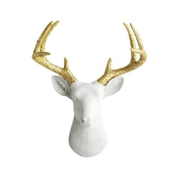 The Virginia | Large Deer Head | Faux Taxidermy | White + Gold Glitter Antlers Resin