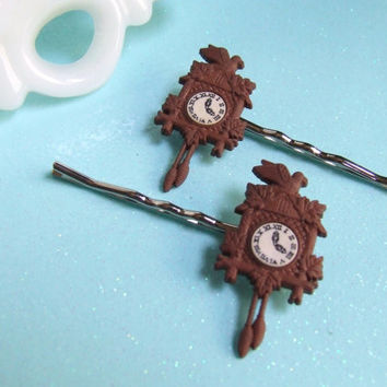 Cuckcoo Clock Bobby Pins - Clock Hair Clips - Rustic Bobby Pins - Miniature Doll House Accessories - Hair Accessories