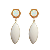 Golden Marquise Earring (opal inlay)
