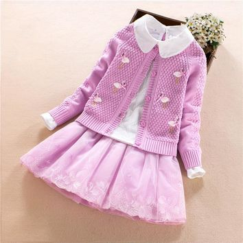 Kids Outfits Girls Clothing Set Sweater 3pcs Autumn Winter Cardigan Girls Swan Embroidered Pom Pom Sweater Kids Clothes 2018