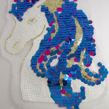 "Unicorn with Loose and Sewn Sequins on Netting 11.5"" x 8.5"""