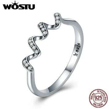 WOSTU 100% 925 Sterling Silver Geometric Wave Finger Rings for Women Wedding Engagement Sterling Silver Jewelry Gift CQR379