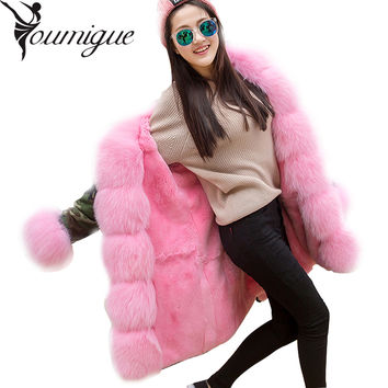 YOUMIGUE DHL Free Natural Real Fox Fur Parkas 2016 Winter Jacket Women Real Rex Rabbit Fur Lining Jacket Female Parka Army Green