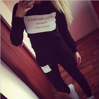 Leisure Letters Printed Long-Sleeved Sports Two-Piece