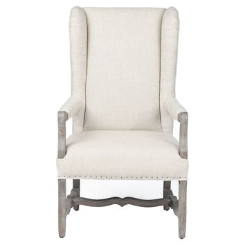 Clara Linen Wingback Chair,  Cream, Wingbacks