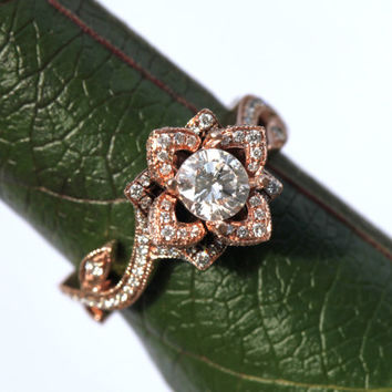 BLOOMING Work Of Art - Flower Rose  Lotus Diamond Engagement or Right Hand Ring -  1.60 carat - 14K white gold - yellow - Rose gold - - fL07