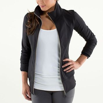 Lululemon Fashion Zipper Solid Color Sport Running Cardigan Jacket Coat-13