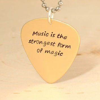 bronze guitar pick necklace - back to school - teachers gift - anniversary gift - bronze plectrum  - NL333