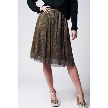 ICIK8BW GOLD METALLIC PLEATED MIDI SKIRT