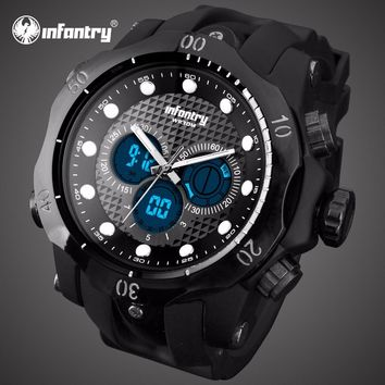 Relojes Hombre INFANTRY Mens Watches Big Dial LED Digital Watch Aviator Military Water Resistant Sports Wristwatch Alarm Clock