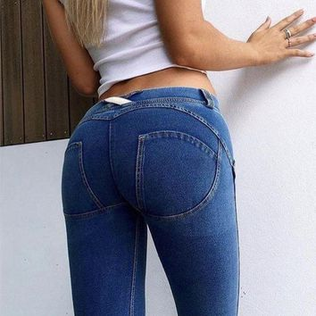 ONETOW Skinny Push Up Freddy Jeans Women Low Waist Jeggings Shaping Effect Denim Pencil Pants