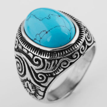 925 Silver Men's Classic Vintage Turquoise Biker  Ring Band Silver Blue