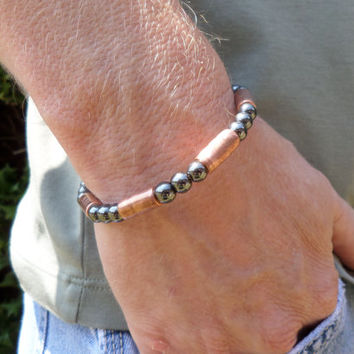 Men's Copper and Hematite Breacelet, Women's Copper and Hematite Bracelet, ColeTaylorDesigns