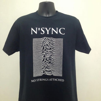 Nsync No Strings Attached/Joy Division Unknown Pleasures Mash Up T Shirt Free Shipping