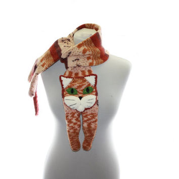 Knitted Scarf / beige brown white Scarf / tabby cat scarf / knit cat scarf /  animal scarf
