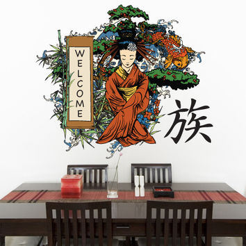 Graphic Wall Decal Sticker Japanese Geisha Welcome #827