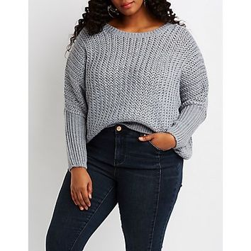 Plus Size Dolman Pullover Sweater | Charlotte Russe