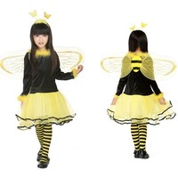 CRAZY POMELO Littie Bee Party Dress Costume With Wings & Hair
