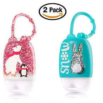 Christmas Pocketbac Holders - Polar Bear and Penguin + Snow Bunny Rabbit with Fluffy Cotton Tail - Set of 2 holders for Bath & Body Works Winter Pocketbacs 1.0 oz anti-bacterial hand sanitizer gel