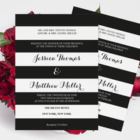 Wedding Invitation Template - Black & White Striped Printable Wedding Invitation Editable PDF Templates - Instant Download - DIY You Print