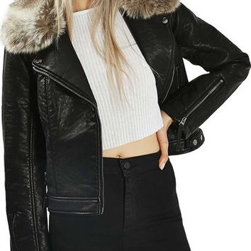 Topshop 'Honey' Faux Fur Collar Faux Leather Moto Jacket | Nordstrom