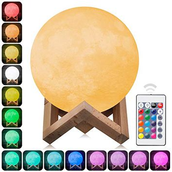 3D Moon Lamp Printed Night Light,Elstey Remote Control 16 Colors Change Optical Illusion LED Lunar...