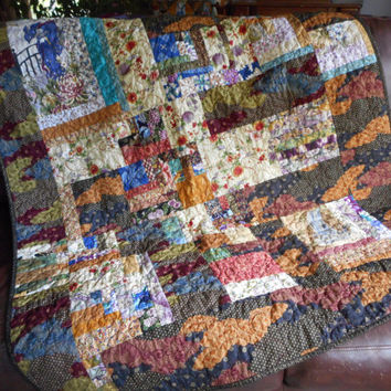 Asian Lap Quilt, handmade quilted oriental fabric, quilted throw blanket, burgundy gold black, asian home decor, kimono print, asian wall