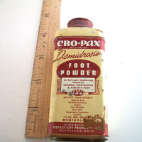 Vintage Cro Pax Foot Powder Tin 1940s Has Age And Wear  Measures 4 & 1/8 Inches tall X 1.5 Inches Wide.