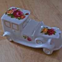 "Vintage ""Cottage Rose"" Car Figurine, Ornament, English Fine Bone China"