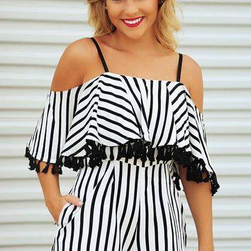 Far From Classic Romper: Black/White