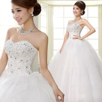 New Designed Women Ruched Lace up White Big Swing Wedding Dresses P_WVA001 = 1930178116