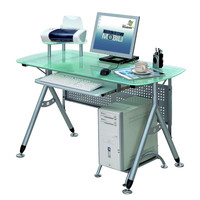 Techni Mobili Glass Computer Desk - Frosted Glass and Silver
