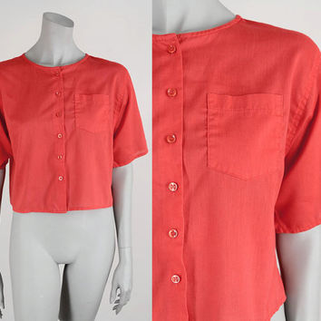 SALE Vintage 80s Blouse / 1980s Tomato Red Loose Fit Boxy Short Blouse S M