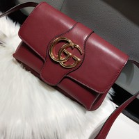Gucci Women Leather Shoulder Bag Shopping Satchel Tote Bag Handbag