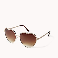 FOREVER 21 F9751 Sweetheart Sunglasses Gold/Brown One
