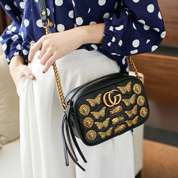 """Gucci"" Women Fashion Insect Animal Rivet Metal Chain Single Shoulder Messenger Bag Small Square Bag"