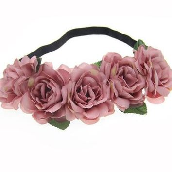 Fabric Lotus Flower Headbands for Woman Girls Hair Accessories Bridal Wedding Flower Crown Headband Forehead Hair Band