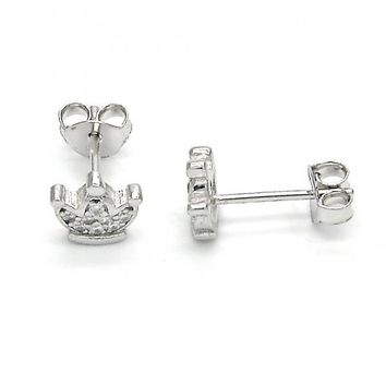 Sterling Silver 02.285.0066 Stud Earring, Crown Design, with White Cubic Zirconia, Polished Finish,